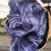 Midnigth oil, mjuk blålila  topsband av shetlandsull/silke vinterverkstans blandning